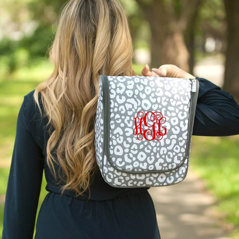 Monogrammed Hanging Travel Case - Cosmetic Bag - Gray Leopard