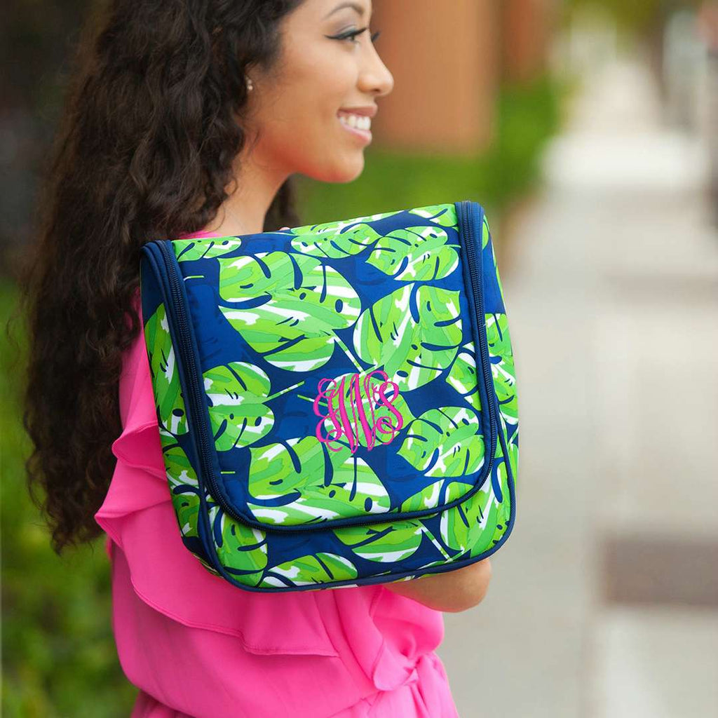 Monogrammed Hanging Travel Case - Cosmetic Bag - Tropical Leaves