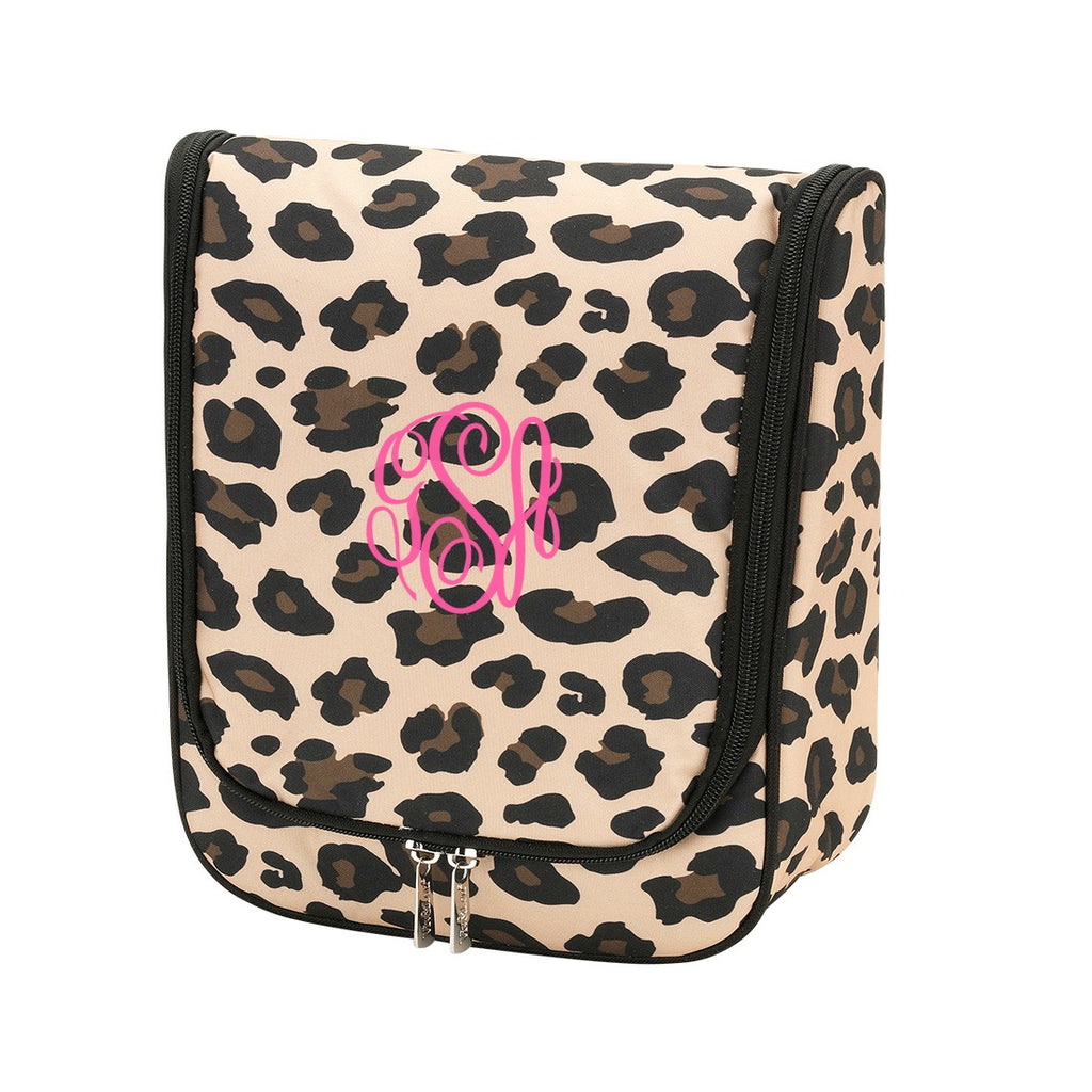 Personalized Leopard Hanging Travel Case - Cosmetic Bag