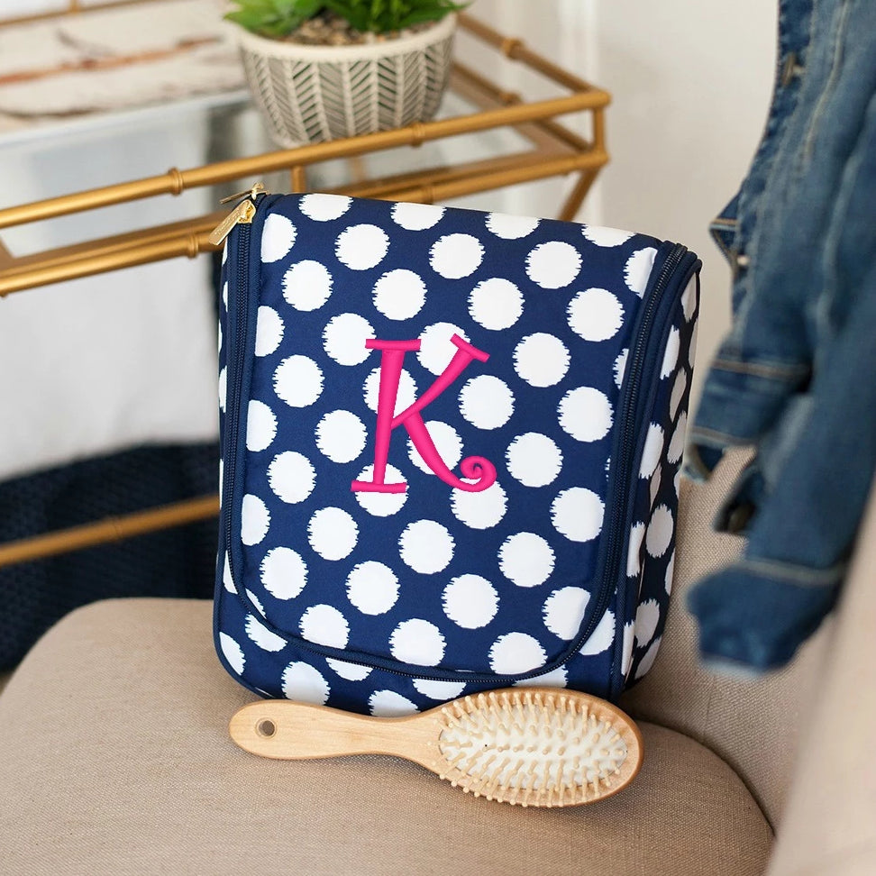 Monogrammed Hanging Travel Case - Cosmetic Bag - Polka Dot Navy