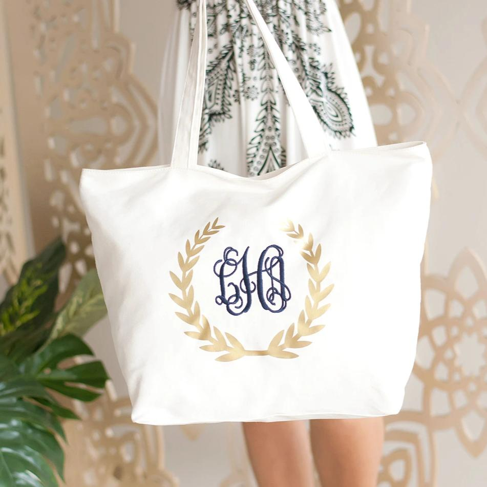 Monogrammed Gold Wreath Tote Bag