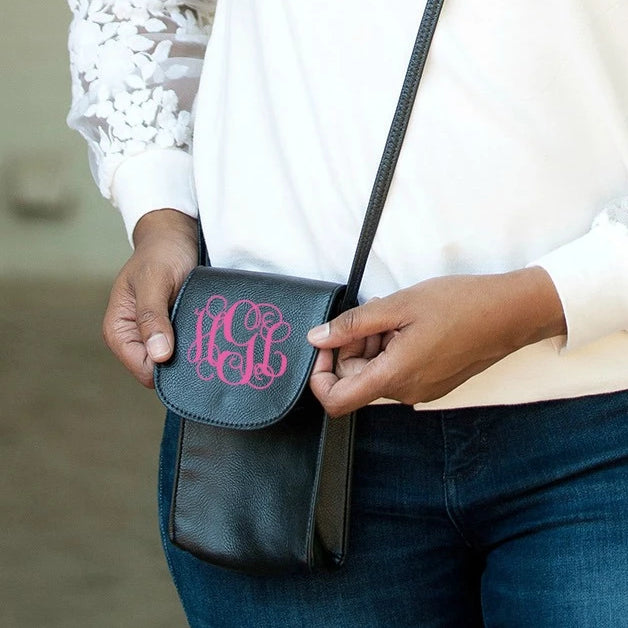 Monogrammed Phone Crossbody Case Purse - Black