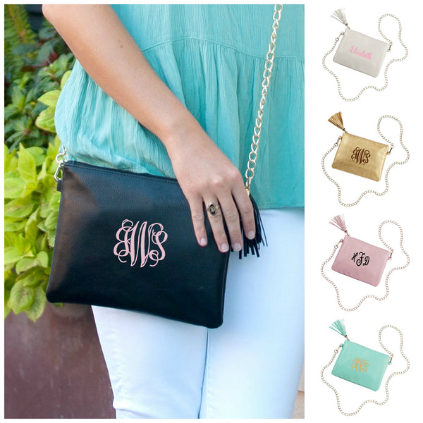 Personalized Crossbody Chain Handbag Vegan Leather