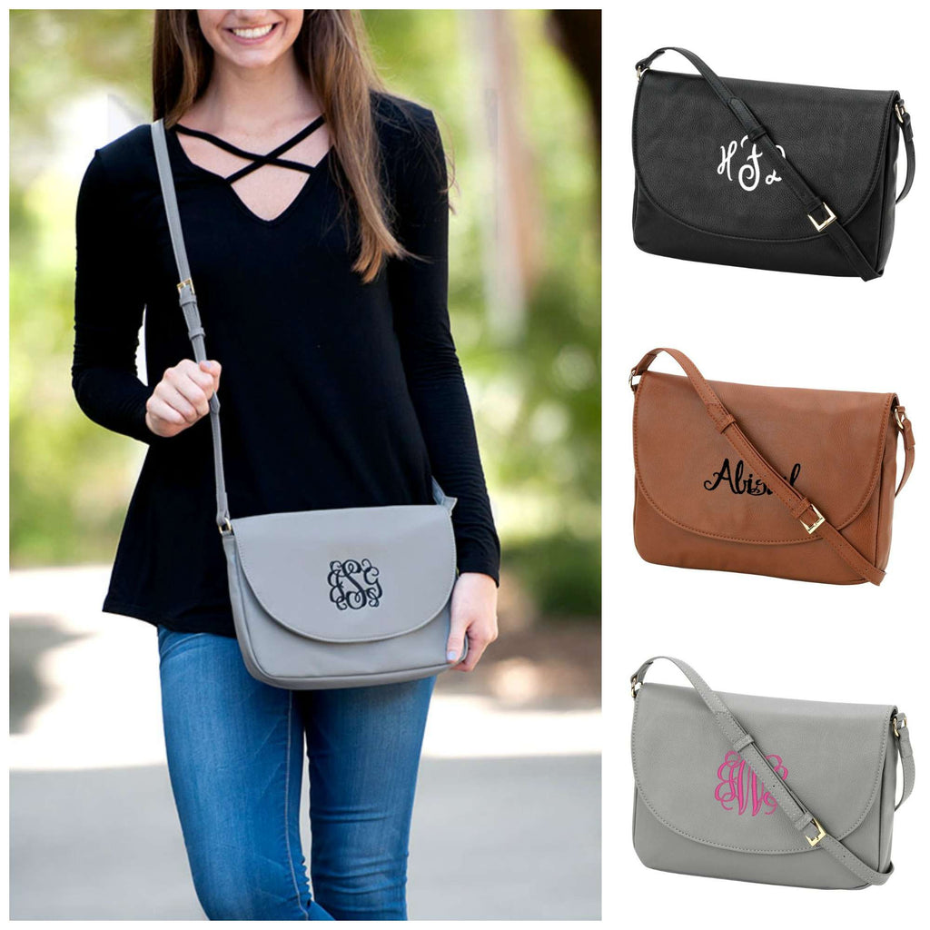 Monogrammed Vegan Leather Handbag - Crossbody - Anna