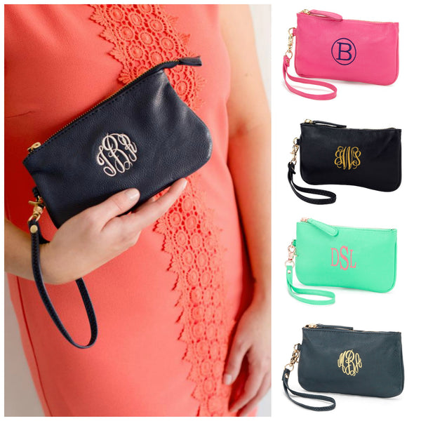 Monogrammed Vegan Leather Wristlet Wallet