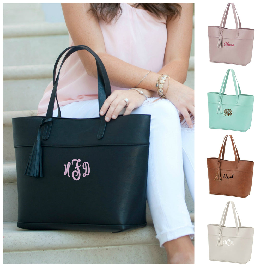 Personalized Aubrey Large Monogrammed Handbag Tassel Purse