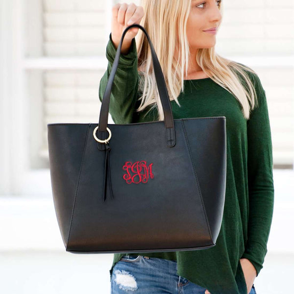 Monogrammed Vegan Leather Large Handbag - Camilla