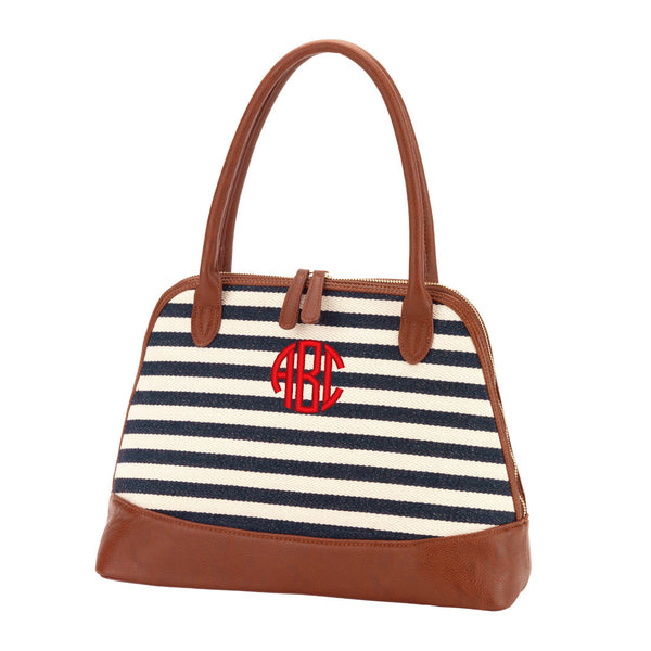 Personalized Chandler Navy Striped Stripe Purse Handbag - Gifts Happen Here - 1