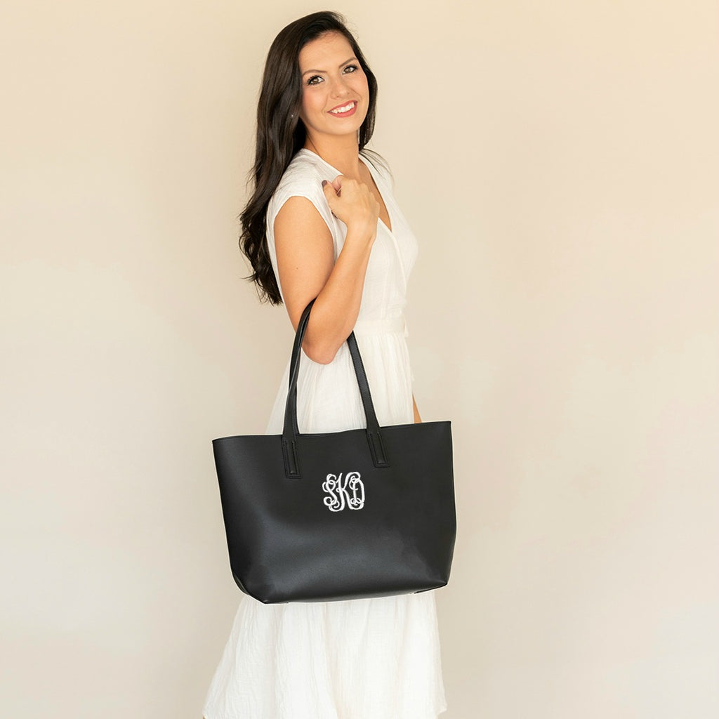 Monogrammed Large Handbag - Vegan Leather - Black