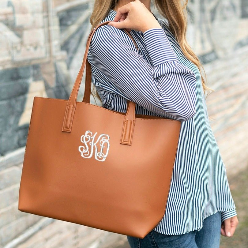 Monogrammed Large Handbag - Vegan Leather - Camel