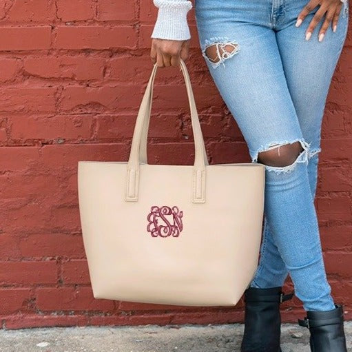 Monogrammed Large Handbag - Vegan Leather - Taupe