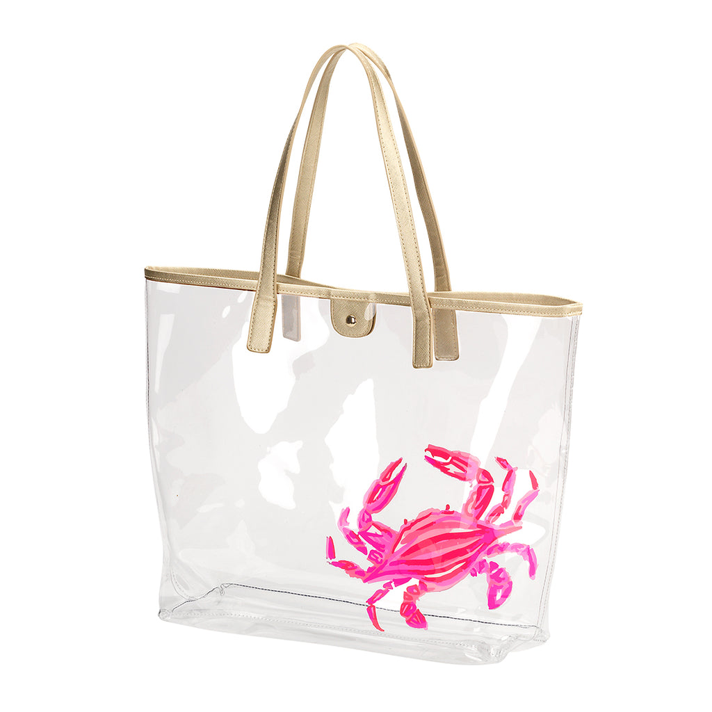 Large Clear Beach Bag - Crab