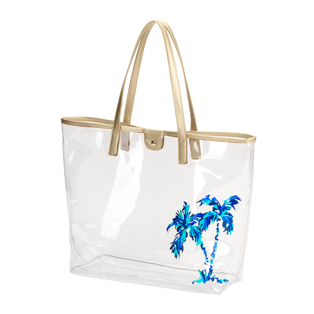 Large Clear Beach Bag - Palm Tree