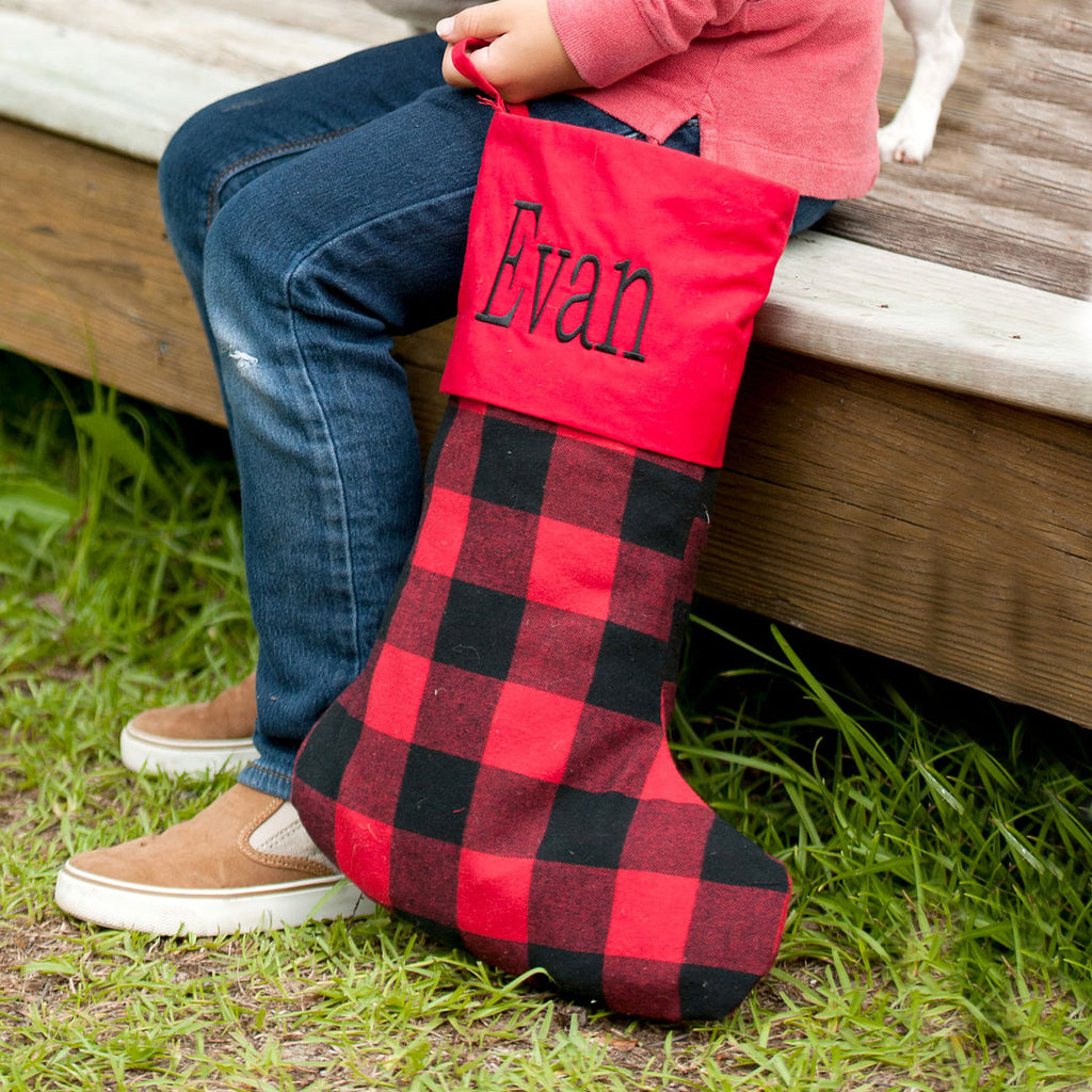 Personalized Christmas Stockings - Burlap, Plaid & Buffalo Check