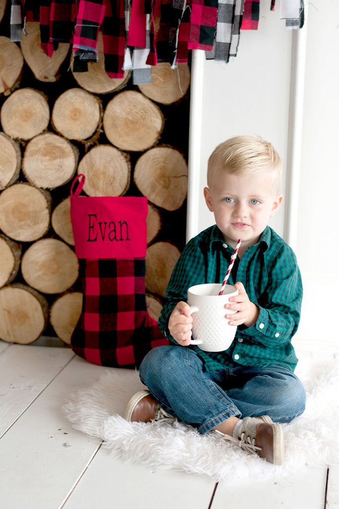 Personalized Christmas Stockings - Buffalo Check - Red & Black