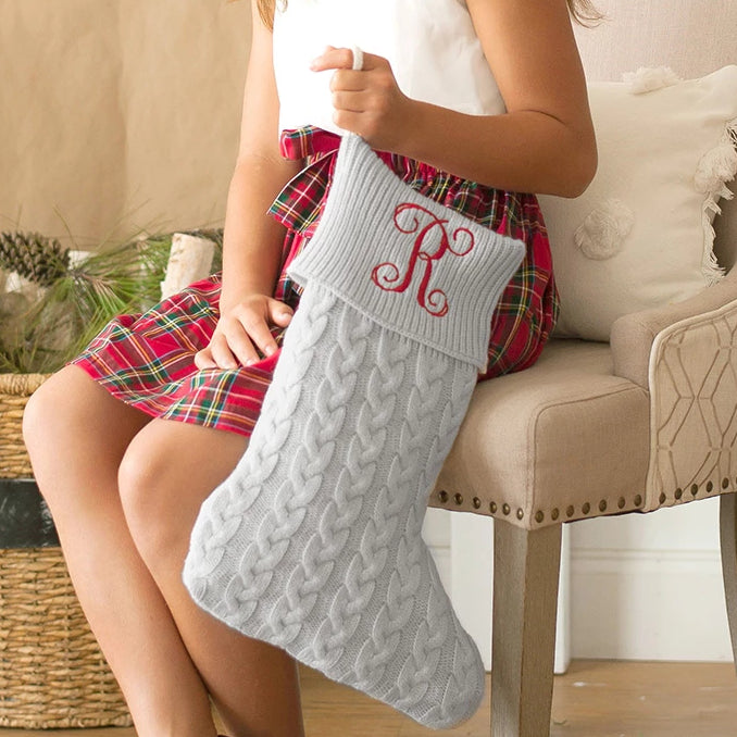 Personalized Cable Knit Stockings for Christmas - Grey