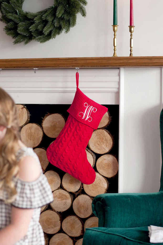 Personalized Cable Knit Stockings for Christmas - Red