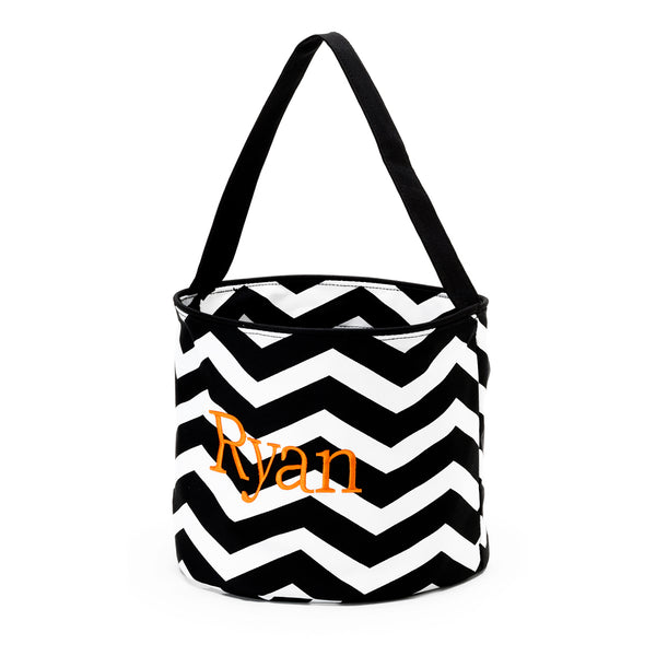 Personalized Halloween Trick or Treat Bucket Chevron Black Orange