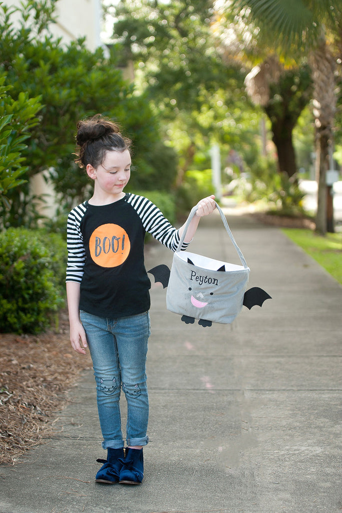 Personalized Trick or Treat Halloween Buckets - Bat