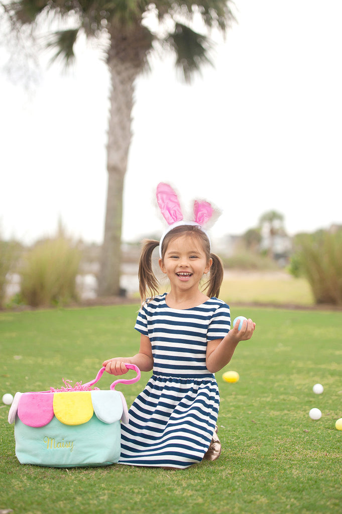 Personalized Kids Easter Bunny Basket - Flower