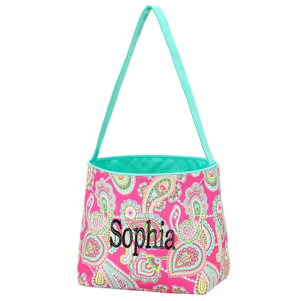 Personalized Kids Easter Basket Buckets - Pink Paisley