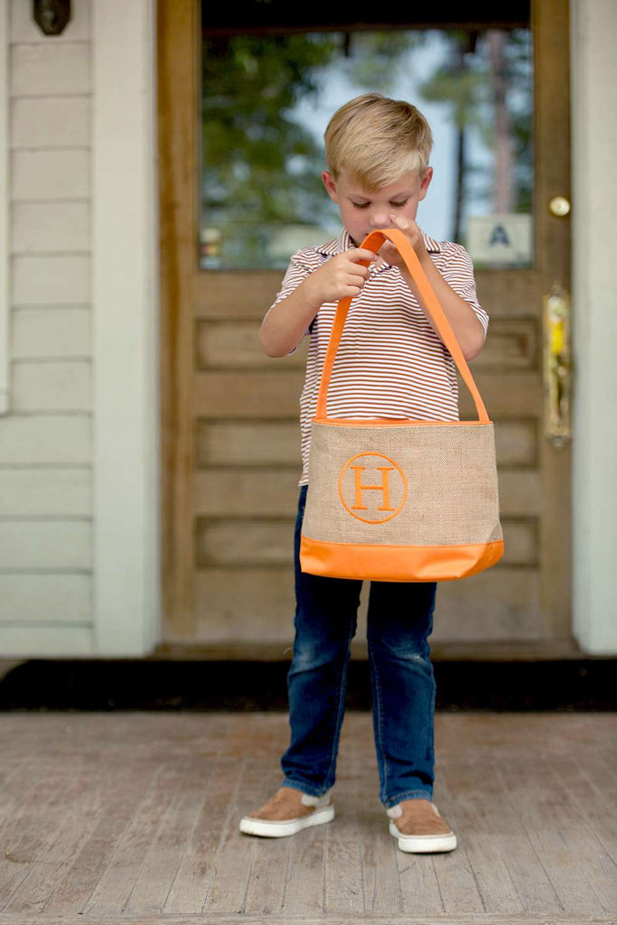 Personalized Kids Halloween Buckets - Burlap - Orange & Black