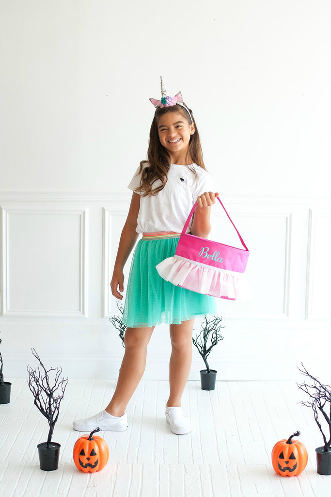 Personalized Trick or Treat Halloween Buckets - Pink Tutu