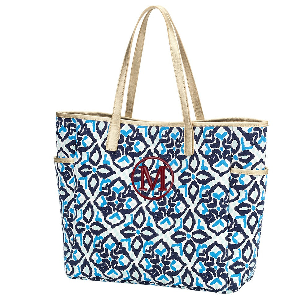Personalized Shoulder Tote Bag - Moroccan Sea Blue