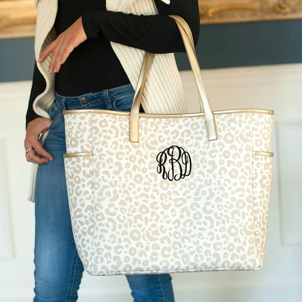 Personalized Shoulder Tote Bag - Natural Leopard