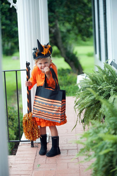 Personalized Trick or Treat Halloween Bags - Orange Black Striped