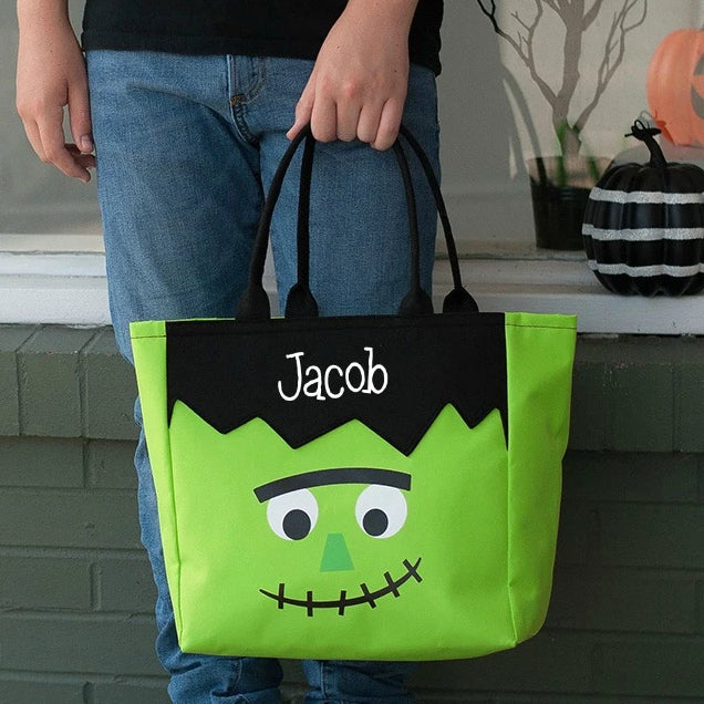 Personalized Halloween Bag Trick or Treat Sack - Frankenstein
