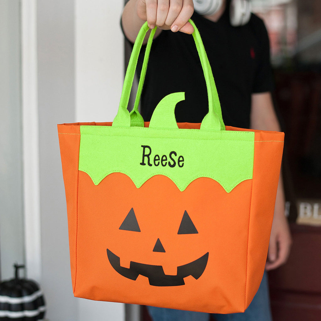 Personalized Halloween Bag Trick or Treat Sack - Jack O Lantern Pumpkin