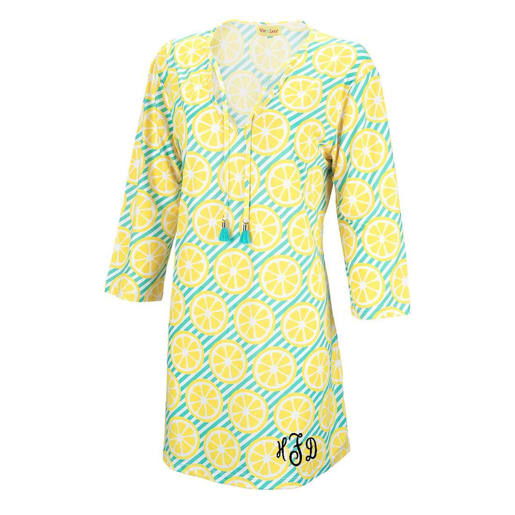 Womens Monogrammed Tunic Swim Coverup - Lemon Squeeze