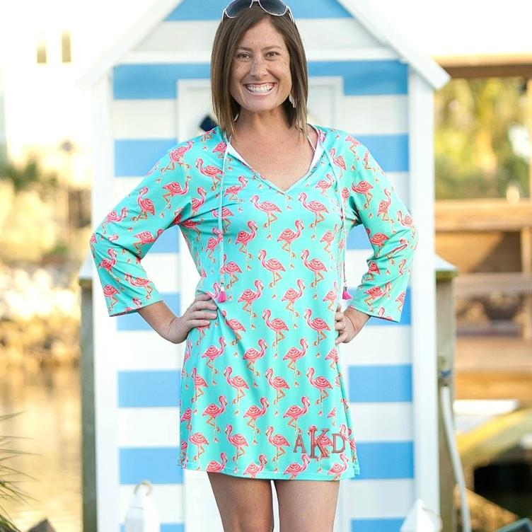 Womens Monogrammed Tunic Swim Coverup - Flamingo