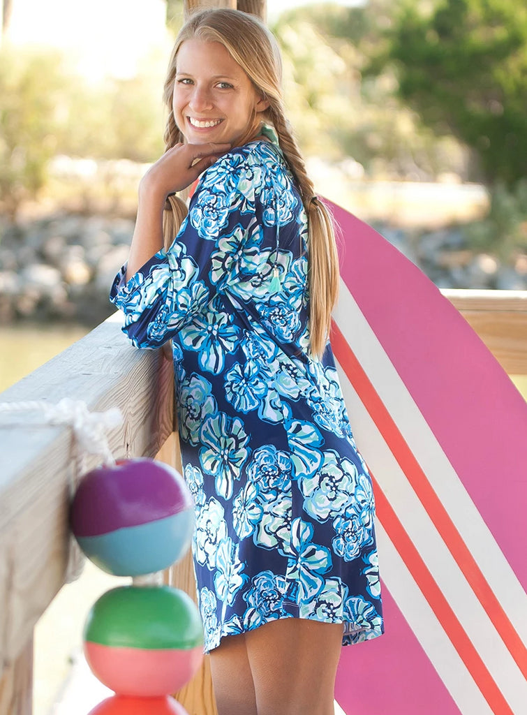 Womens Monogrammed Tunic Swim Coverup - Floral Maliblue