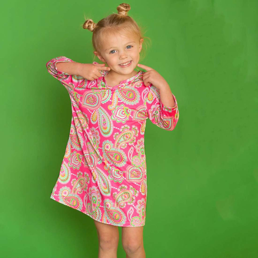 Personalized Girls Tunic - Beach Coverup - Paisley Pink & Mint
