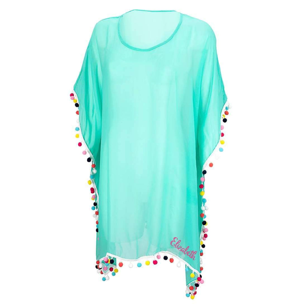 Personalized Pom Pom Coverup - Mint