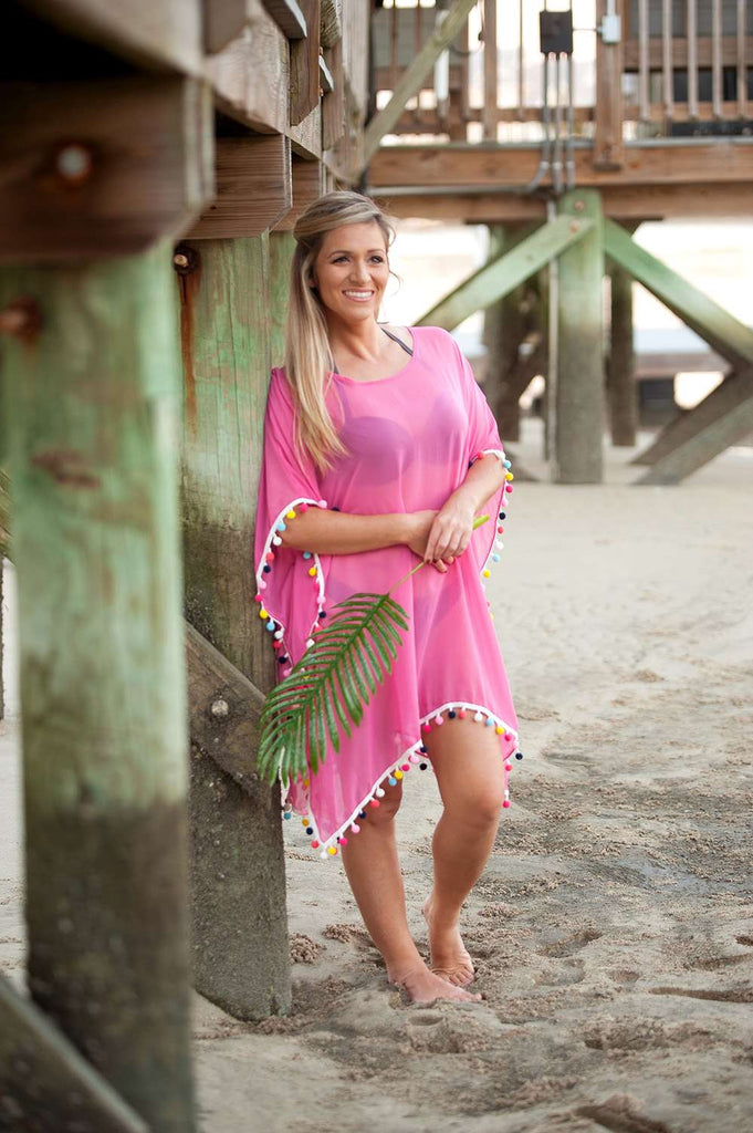 Personalized Pom Pom Coverup - Hot Pink