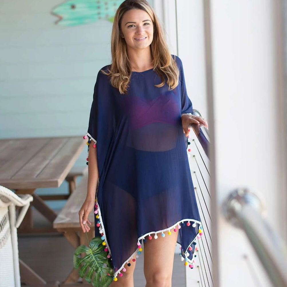Personalized Pom Pom Coverup - Navy