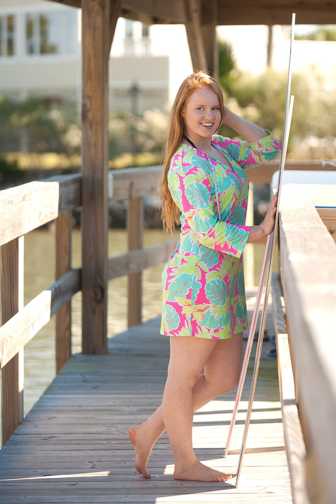 Womens Monogrammed Tunic Swim Coverup - Totally Tropics