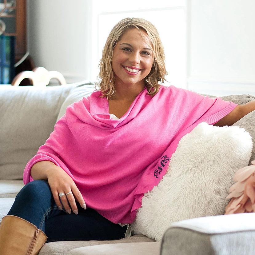 Personalized Pashmina Poncho - Hot Pink