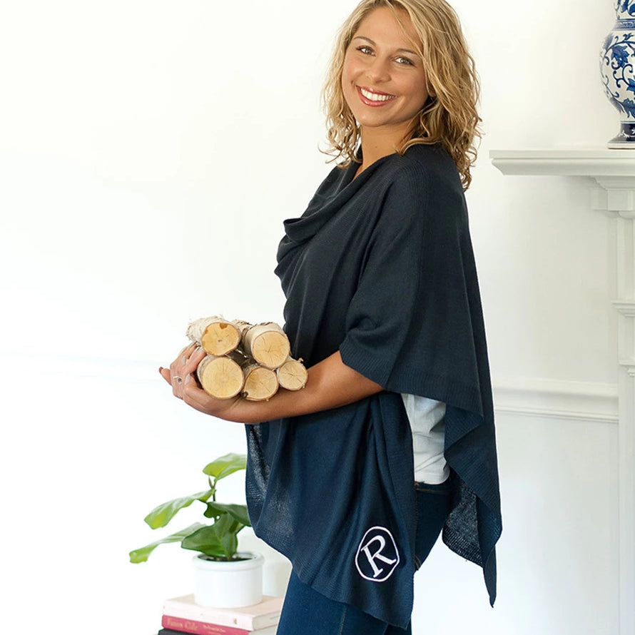 Personalized Pashmina Poncho - Navy Blue