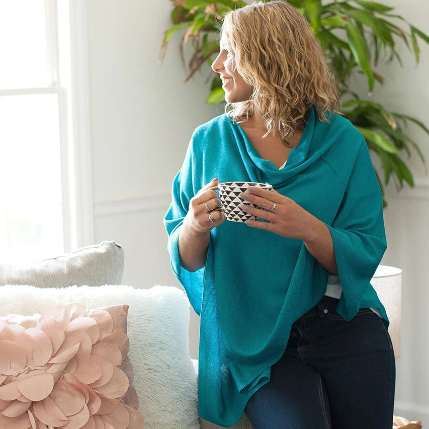 Personalized Pashmina Poncho - Teal