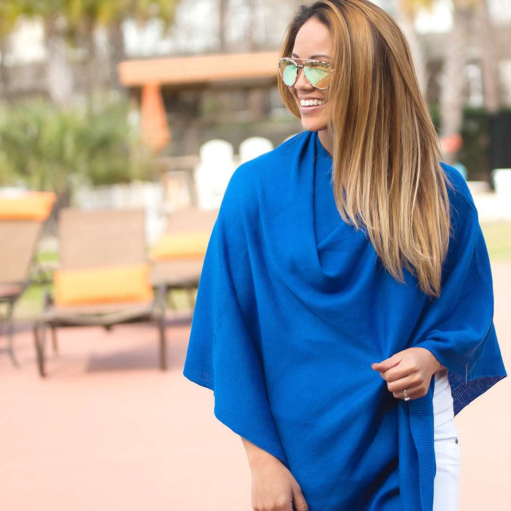 Personalized Pashmina Poncho - Royal Blue