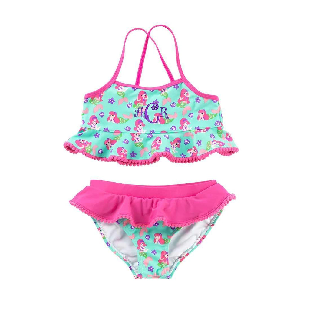 Monogrammed Girls Bikini Swim Suit Set - Mermaid Kiss