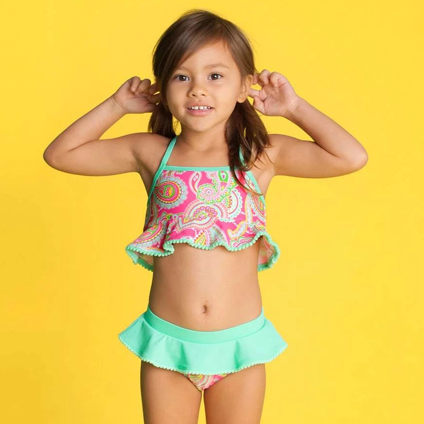 Monogrammed Girls Bikini Swim Suit Set - Paisley Pink & Mint