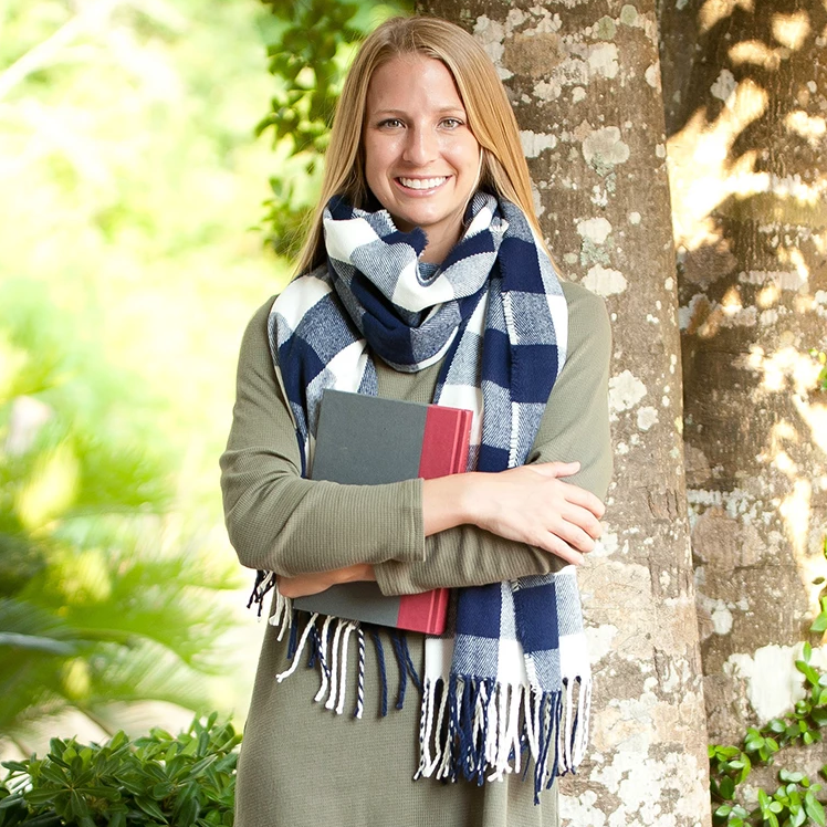 Personalized Buffalo Checkered Plaid Scarf - Navy Buffalo Check