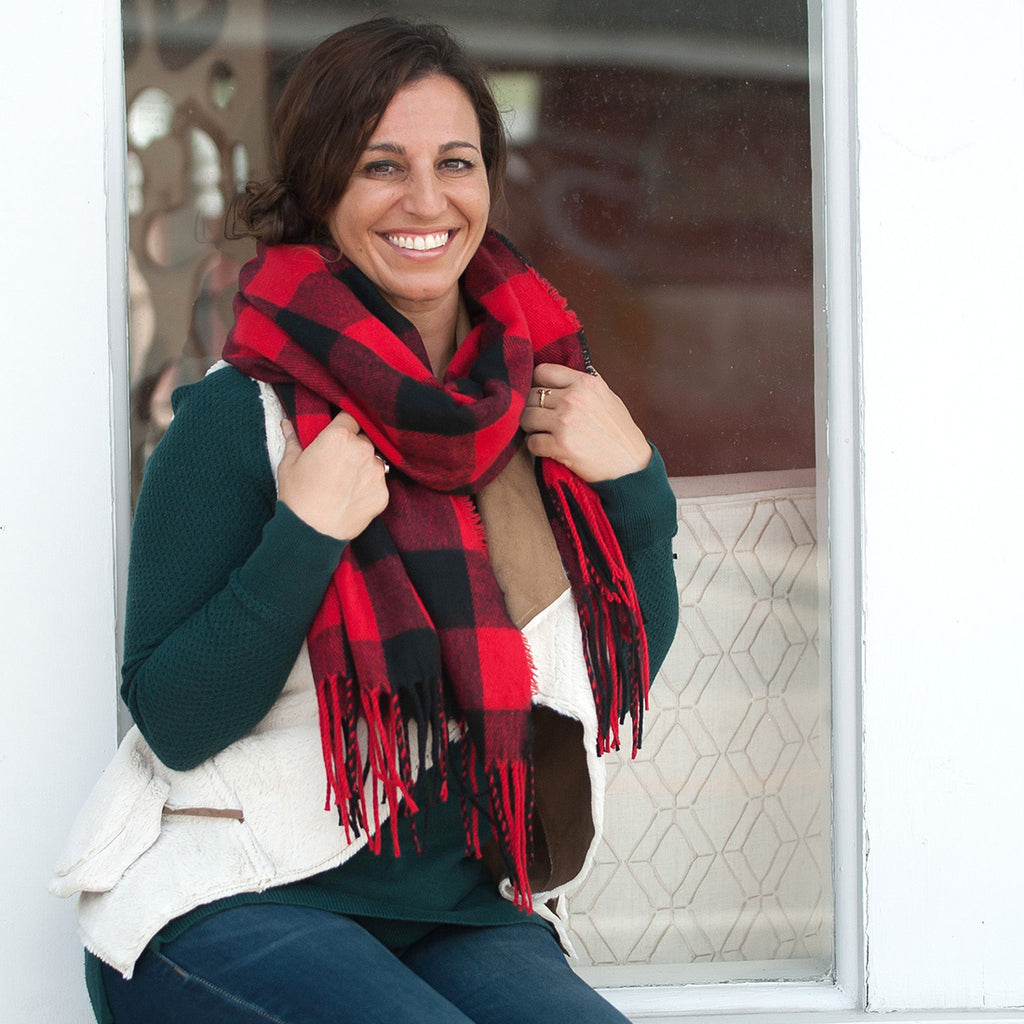 Cute & Cozy Gift Set - Monogrammed Buffalo Plaid Scarf & Matching Pom Hat