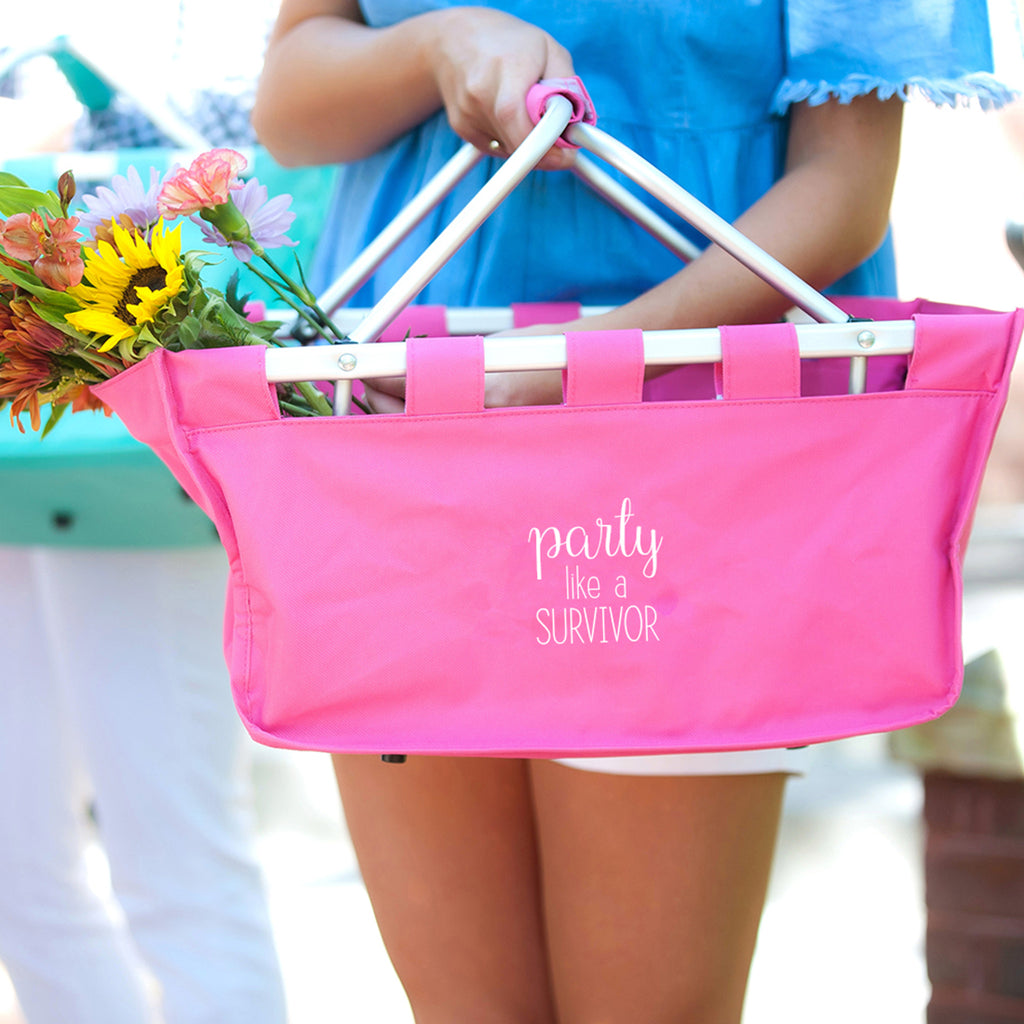 Party like a Survivor Hot Pink Market Tote - Breast Cancer Awareness - Pink Ribbon