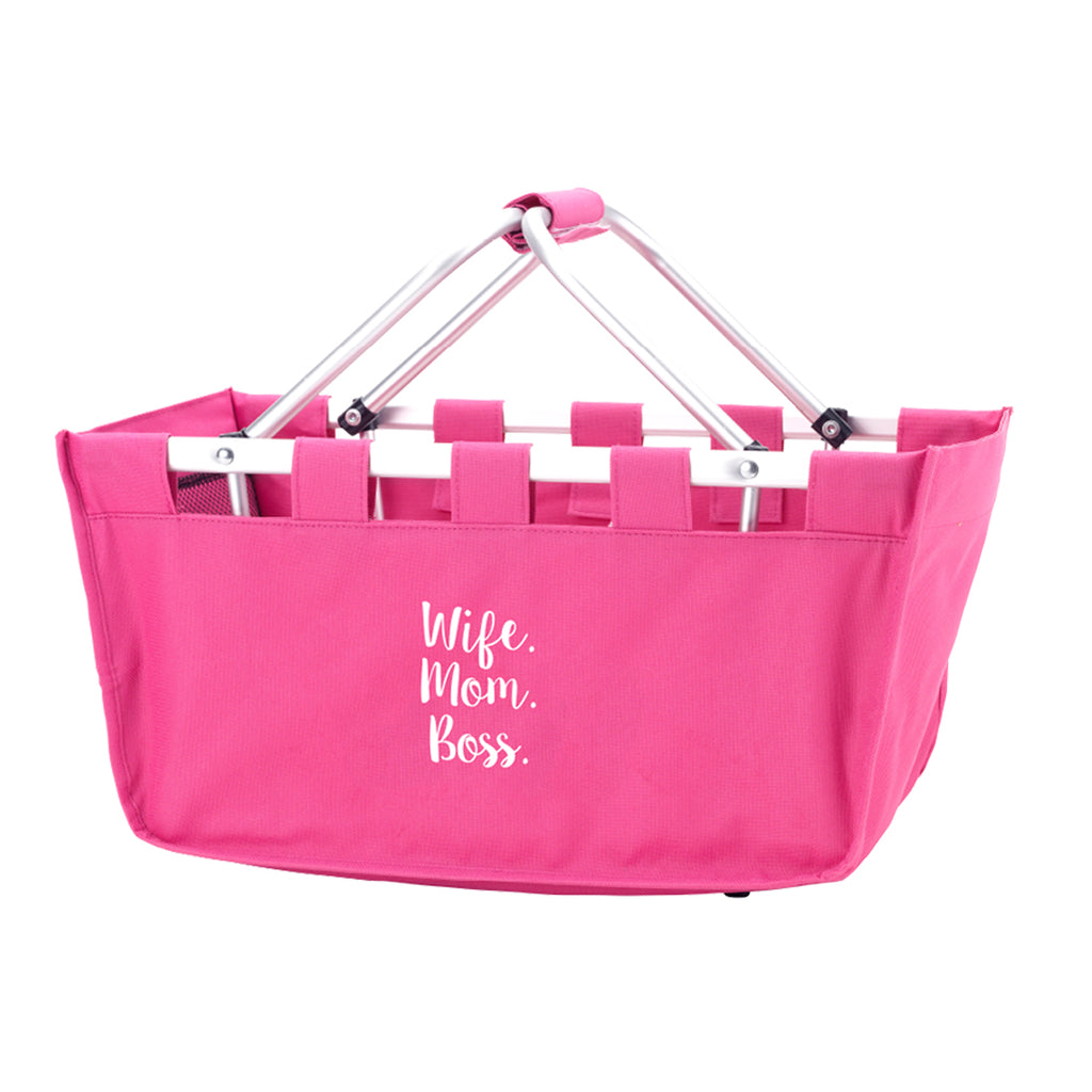 Wife. Mom. Boss. Hot Pink Market Tote
